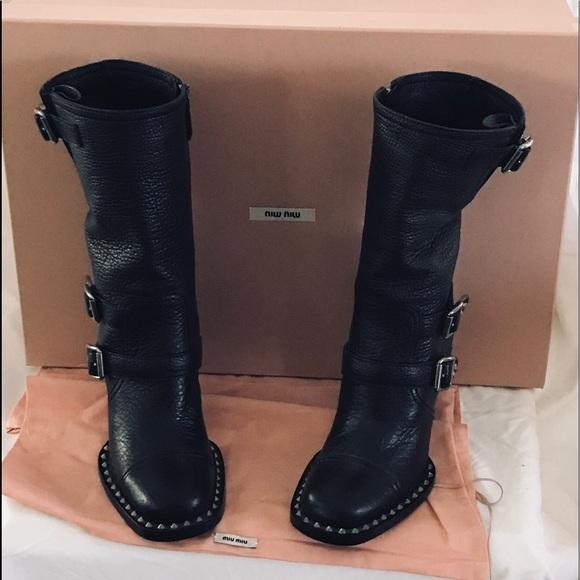 1d04fa0e1144 Miu Miu by Prada Biker Ankle boots size 36.5 New